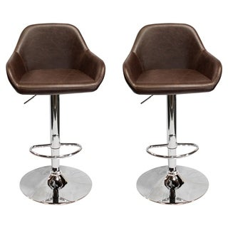 Best Master Furniture Vintage Brown Adjustable Bar Stool (Set of 2)