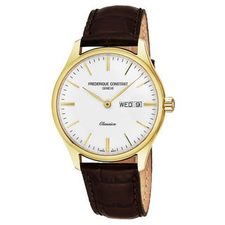 Frederique Constant Men's FC-225ST5B5 'Classics' Silver Dial Brown Leather Strap Swiss Quartz Watch