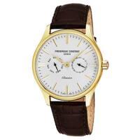 Frederique Constant Men's FC-259ST5B5 'Classics' Silver Dial Brown Leather Strap Date/Day Swiss Quartz Watch