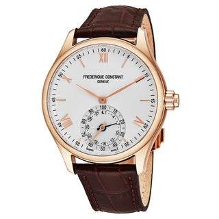 Frederique Constant Men's FC-285V5B4 'Classics' Silver Dial Brown Leather Strap Horological Smartwatch Swiss Quartz Watch