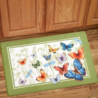 "Colorful Butterfly Printed Anti-Fatigue Kitchen Mat (18""x30"") Green"