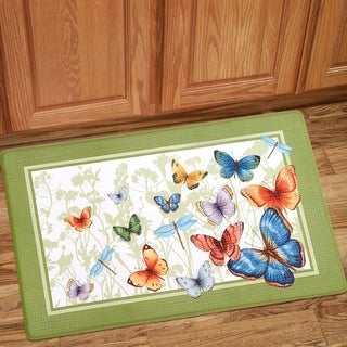 Shop Colorful Butterfly Printed Anti Fatigue Kitchen Mat