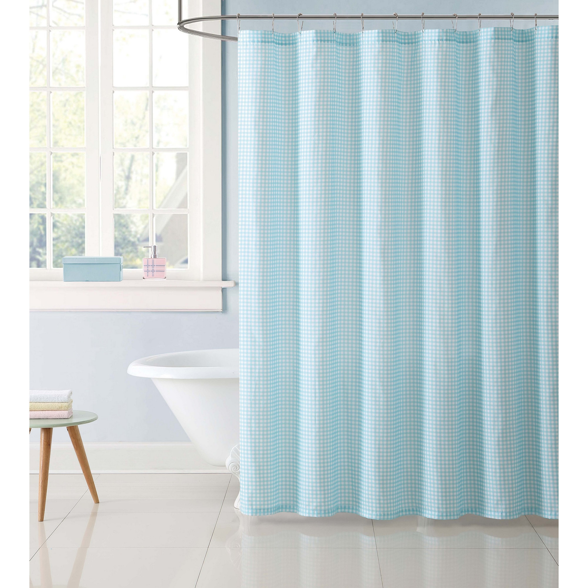 shower reelyouthhartford pink blue navy org gingham curtain checkered