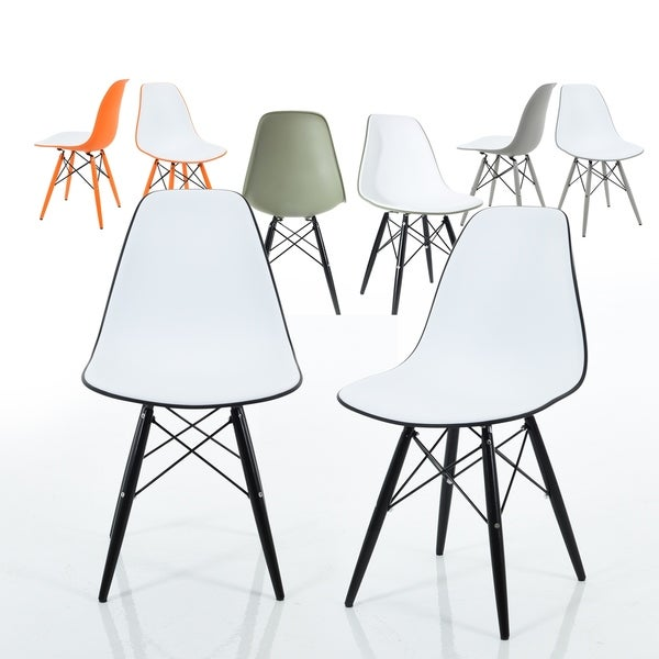 Branwen Two-toned Polypropylene Dining Chairs with Wood Legs (Set of 2)