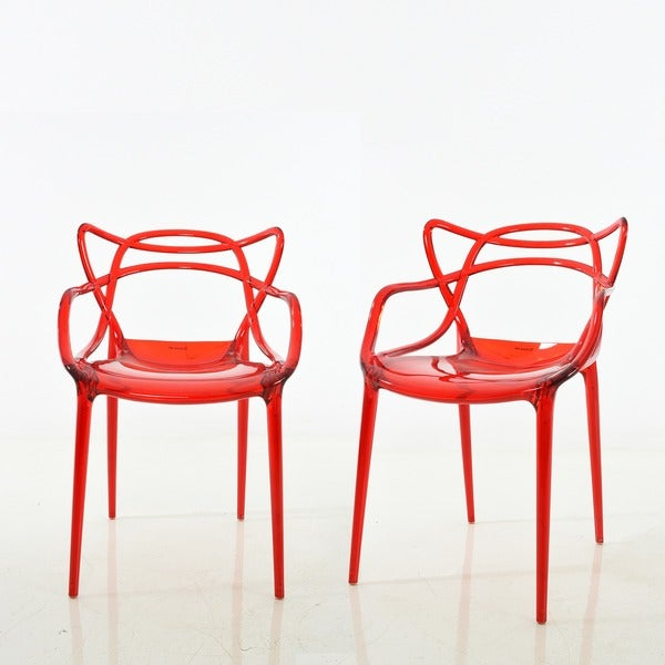 Charmant Enstrudel Transparent Polycarbonate Dining Chairs (Set Of 2)
