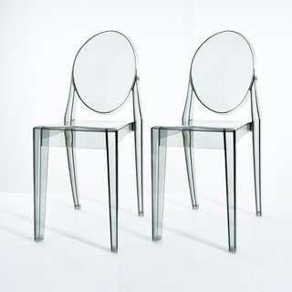 Lavis Modern Transparent Smoked Grey Acrylic Dining Chair (Set of 2)