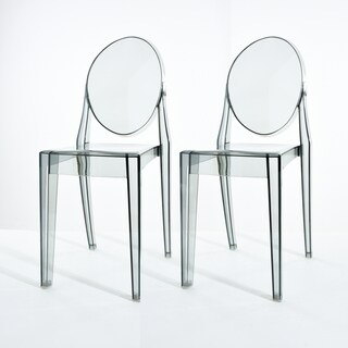 Lavis Modern Transparent Smoked Grey Acrylic Dining Chair (Set Of 2)