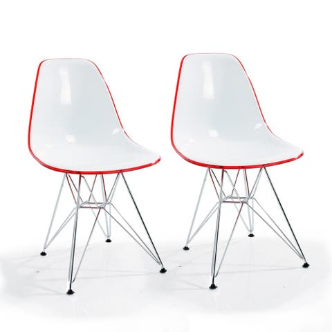 Timot Contemporary Two-Toned Polycarbonate Chair with Chrome Legs (set of 2)