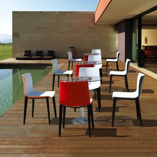 Branka Modern Two-Toned Polypropylene Dining Chairs with Wooden Legs (set of 2)