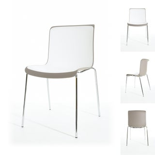 Enrik Modern Two-Toned Polypropylene Dining Chair with Metal Legs (set of 2) (3 options available)