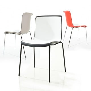 Enrik Modern Two-Toned Polypropylene Dining Chair with Metal Legs (set of 2)