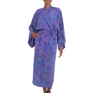 Handmade Rayon 'Purple Mist' Batik Robe (Indonesia)