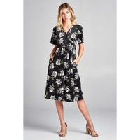 Spicy Mix Leelee Floral Velour Wrapped Midi Dress + Pockets