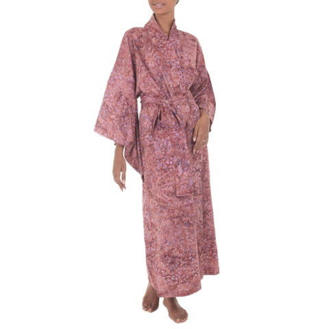 Handmade Cotton 'Earth Dancer' Batik Robe (Indonesia)