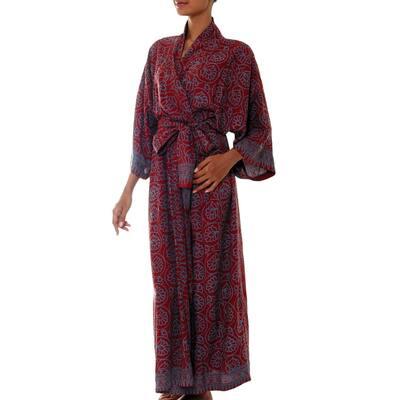 NOVICA Handmade Rayon Morning Aster Robe (Indonesia)