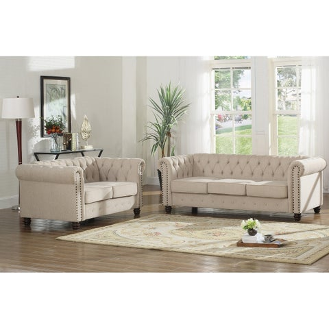 Best Master Furniture Tufted Upholstered Sofa and Loveseat