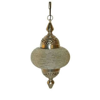 Urban Designs Soraya Handcrafted Hanging Chain Clear Beads Ceiling Lamp
