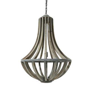 Urban Designs Lara Rustic Wood With Bars Large Hanging Lamp
