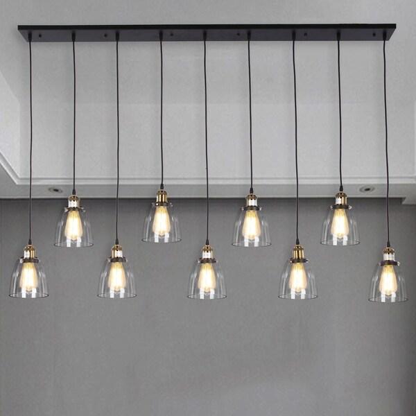 Laurden 9-light Lilnear Chandelier Clear Glass Shade includes Edison Bulbs