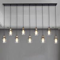 Laurden 9-light Lilnear Chandelier Clear Glass Shade includes Edison Bulbs