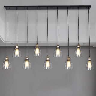 Laurden 9 Light Lilnear Chandelier Clear Gl Shade Includes Edison Bulbs