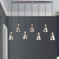 Breffa Chrome 7-light Linear Chandelier Smoked Glass Shade includes Edison Bulbs