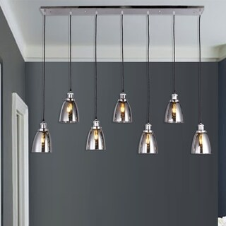 Breffa Chrome 7-light Linear Chandelier Smoked Glass Shade includes Edison Bulbs