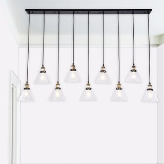 Rados Antique Bronze 9-light Linear Chandelier with Clear Shades includes Edison Bulbs