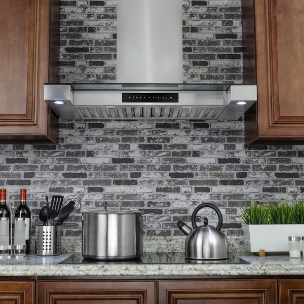 "Golden Vantage RH0243 30"" Stainless Steel Wall Mount Range Hood Touch Screen Display Baffle Filter"