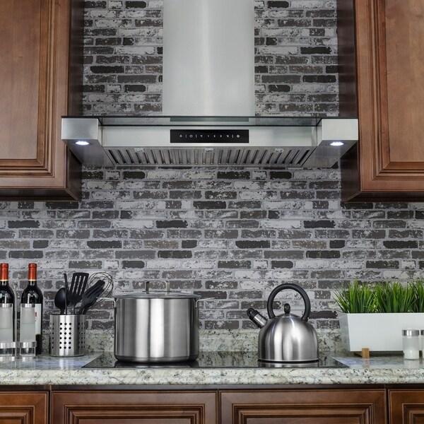"Golden Vantage RH0244 36"" Stainless Steel Wall Mount Range Hood Touch Screen Display LED Light Baffle Filter Cooking Fan"
