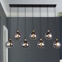 Aira Black and  Bronze Metal 7-Light Linear Chandelier with 8-inch Smoked Glass Globes includes Edison Bulbs