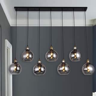 Aira Black And Bronze Metal 7 Light Linear Chandelier With 8 Inch Smoked Gl