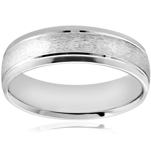 Pompeii3 Platinum 6MM Brushed High Polished Mens Wedding Band Bridal Ring - White