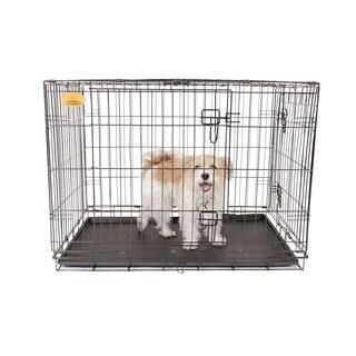 """KennelMaster 24""""x17""""x19"""" Double Door Folding Metal Dog Crate"""