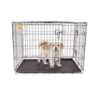 """KennelMaster 42""""x28""""x30"""" Double Door Folding Metal Dog Crate"""