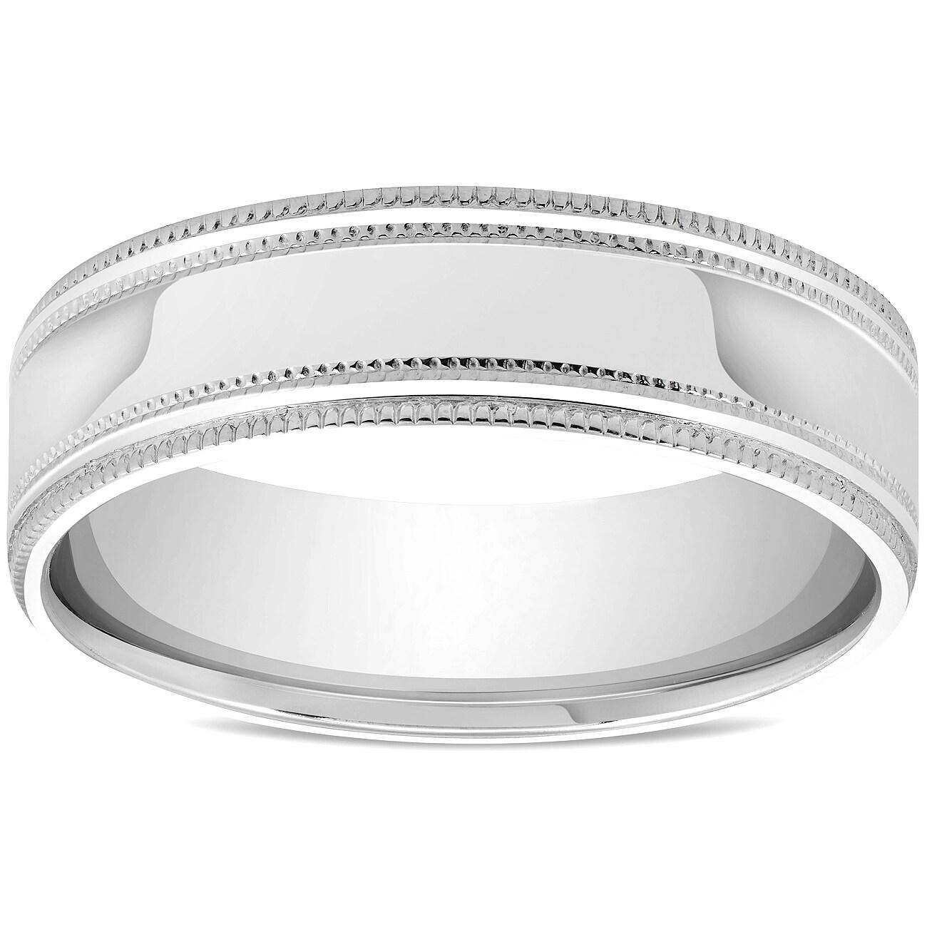14k Solid White Gold 6mm High Polish Milgrain Wedding Band Ring Size 8