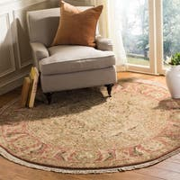 Safavieh Couture Hand-Knotted Old World Vintage Light Green / Rose Wool Rug - 6' Round