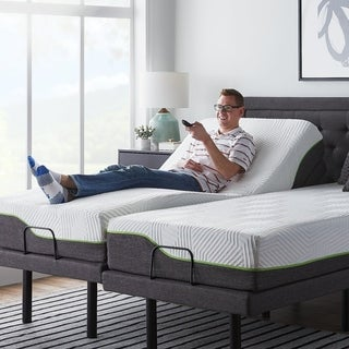 LUCID Comfort Collection 12-inch Queen-size Premium Support Memory Foam Mattress with L300 Adjustable Bed Base