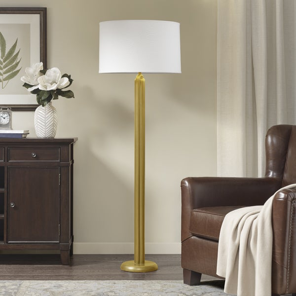 Harbor House Deco Gold 60.8-inch Floor Lamp with Cone Shaped White Shade