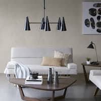 INK+IVY Bellac Black Chandelier with Brown Cone Shape Shade