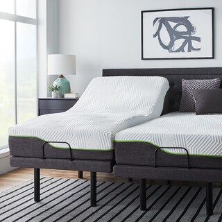 LUCID Comfort Collection 12-inch Split King-size Premium Support Memory Foam Mattress with L300 Adjustable Bed Base