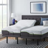 LUCID Comfort Collection 10-inch Split King-size Premium Support Memory Foam Mattress with L300 Adjustable Bed Base