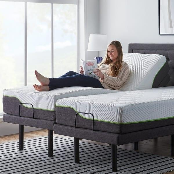 Amazon Com Lucid L300 Adjustable Bed Base With Lucid 10 Inch Memory Foam Hybrid Mattress Split King Kitchen Dining