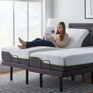 LUCID 10-inch Queen-size Latex Hybrid Mattress with L300 Adjustable Bed Base