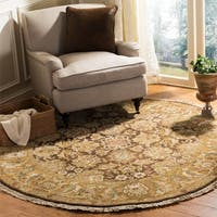 Safavieh Couture Hand-Knotted Old World Vintage Dark Brown / Gold Wool Rug - 6' Round