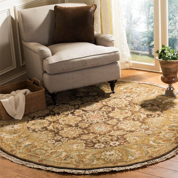 Safavieh Couture Hand-Knotted Old World Vintage Dark Brown / Gold Wool Rug - 6' x 6' Round