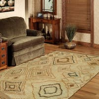 """LR Home Hand Knotted Moroccan Abstract Diamond Ivory/ Gold Wool Rug - 5'6"""" x 8'6"""""""