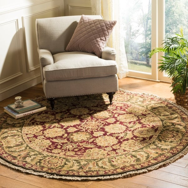 Safavieh Couture Hand-Knotted Old World Vintage Burgundy / Green Wool Rug - 6' Round