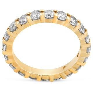 Bliss 14k Yellow Gold 2 ct TDW Diamond Eternity Ring Womens Wedding Anniversary Band - White