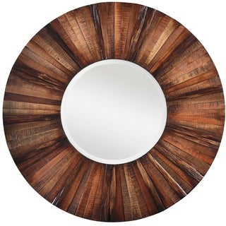 Kimberly Round wall Mirror - Brown - N/A